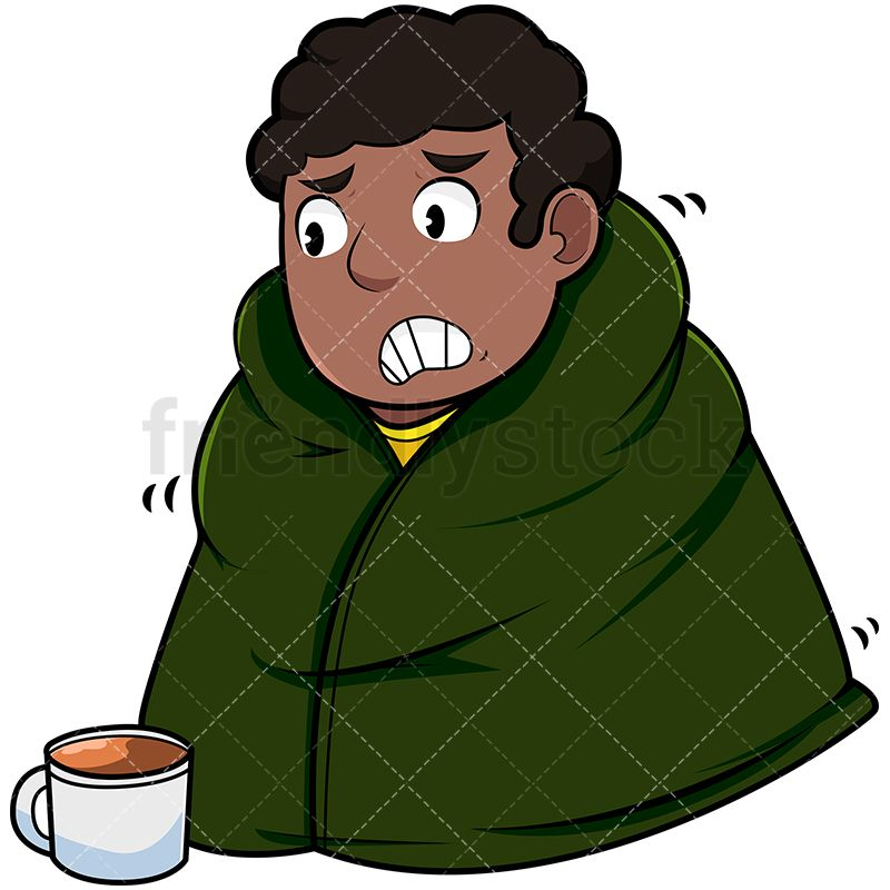 Black Man Wearing Blanket To Stay Warm | Vector ...