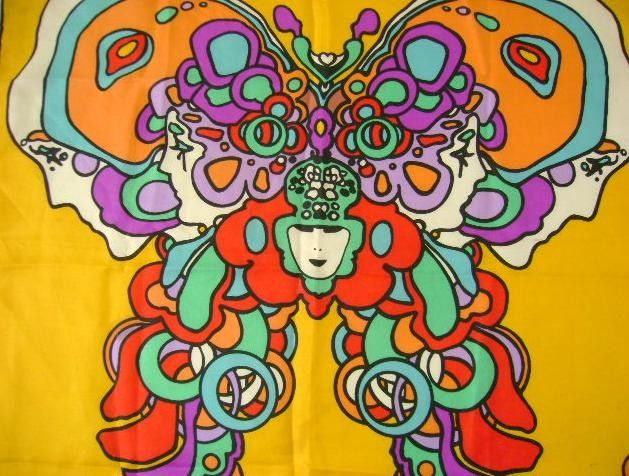Vintage Peter Max Butterfly Woman Psychedelic Scarf -1826