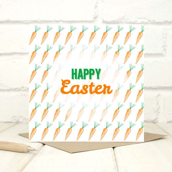 Easter Carrots Card Modern Easter Card Easter Wishes Card