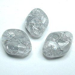 Vintage German Glass Crackle Twist Diamond Beads Grey & Crystal Givre'