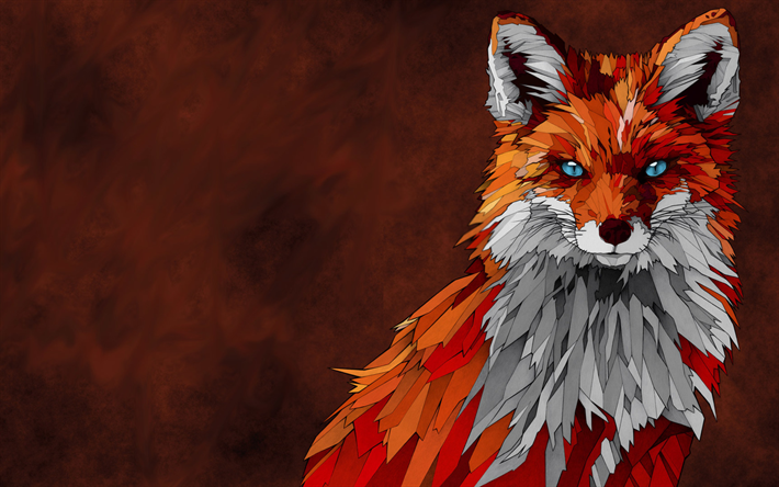 Download wallpapers Fox, mosaic, creative, art, predators
