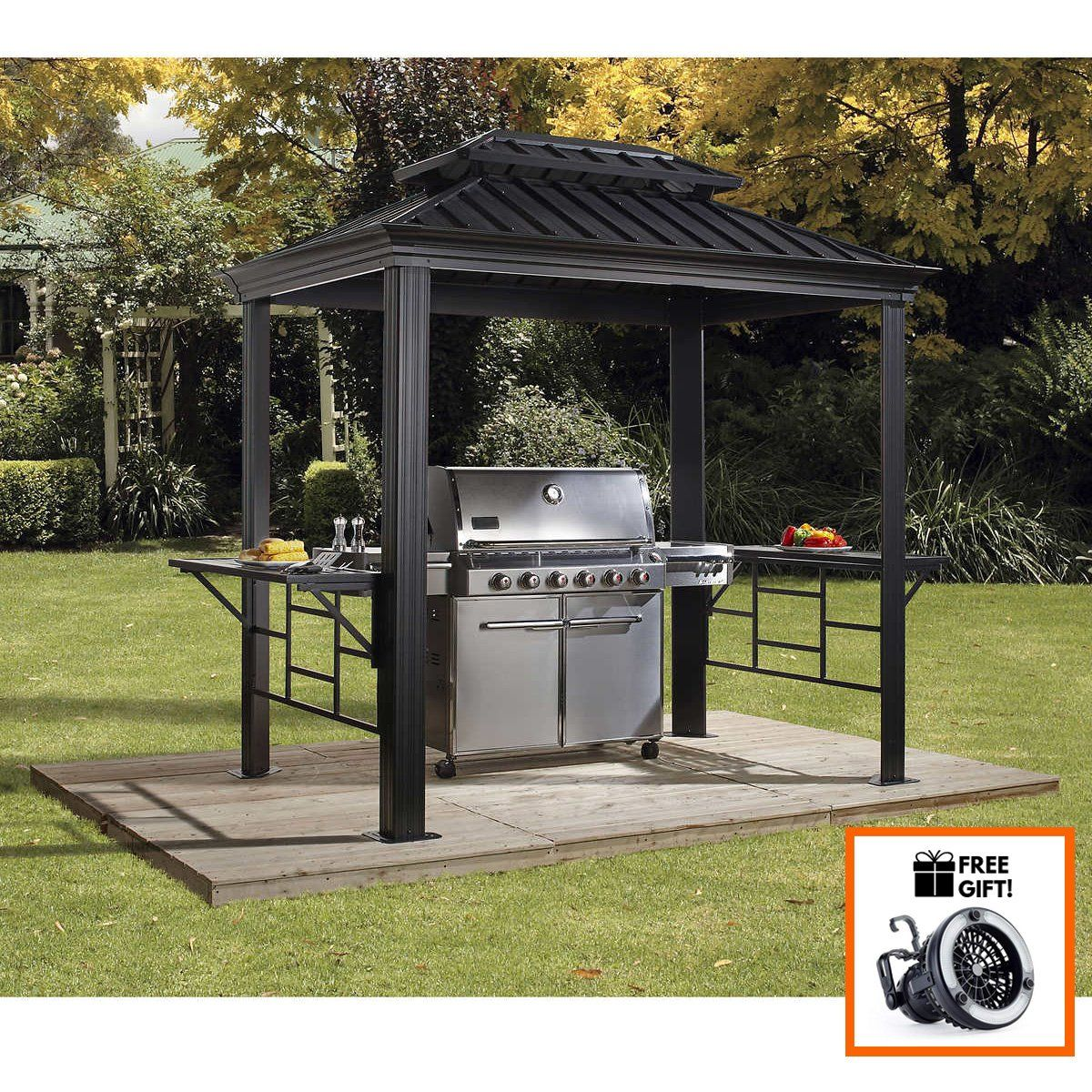 Sojag Bbq Messina Shelter With Galvanized Steel Roof Size 6 X8
