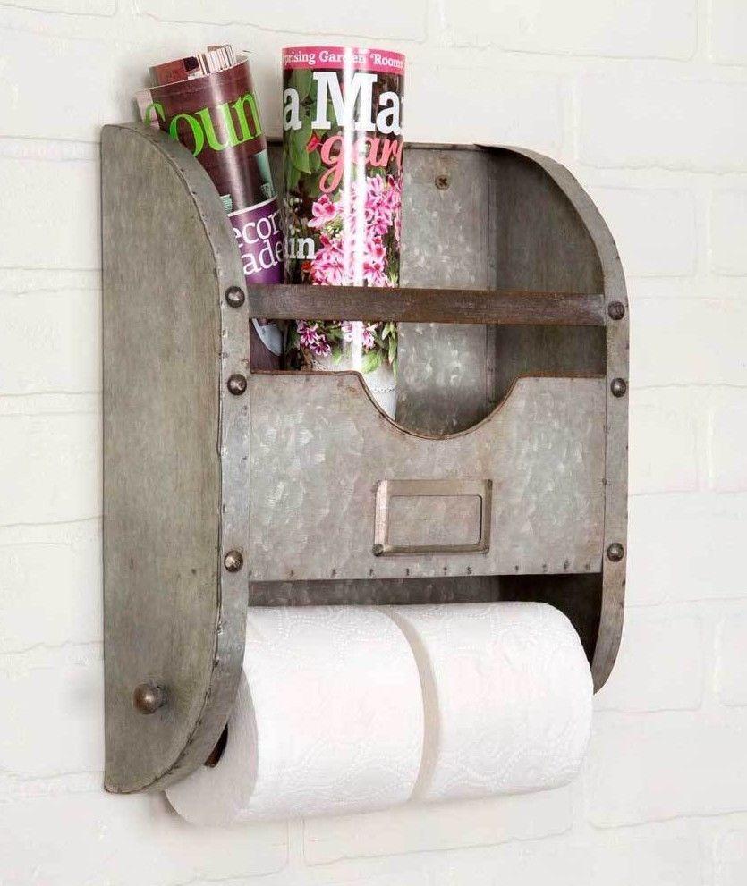 Farmhouse metal bucket toilet paper holder wall mount