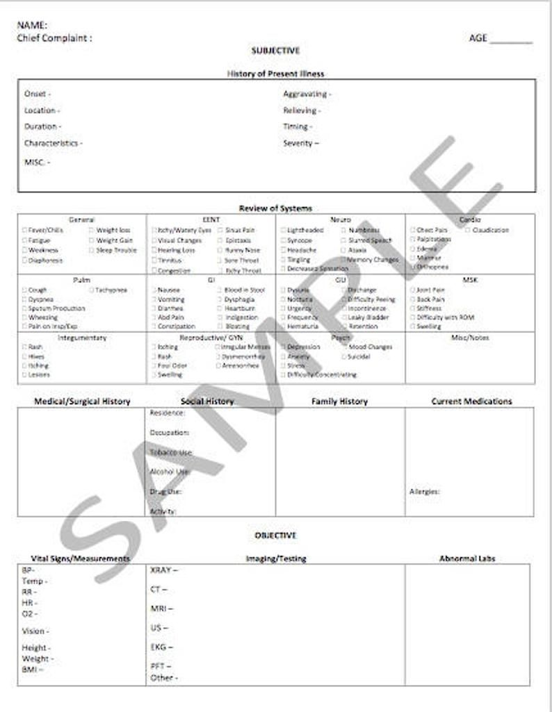 Soap Note Template Etsy In 2021 Soap Note Notes Template Doctors Note Soap note template nurse practitioner