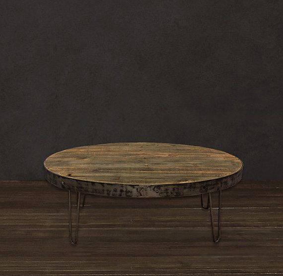 Industrial Reclaimed Wood Oval Coffee Table