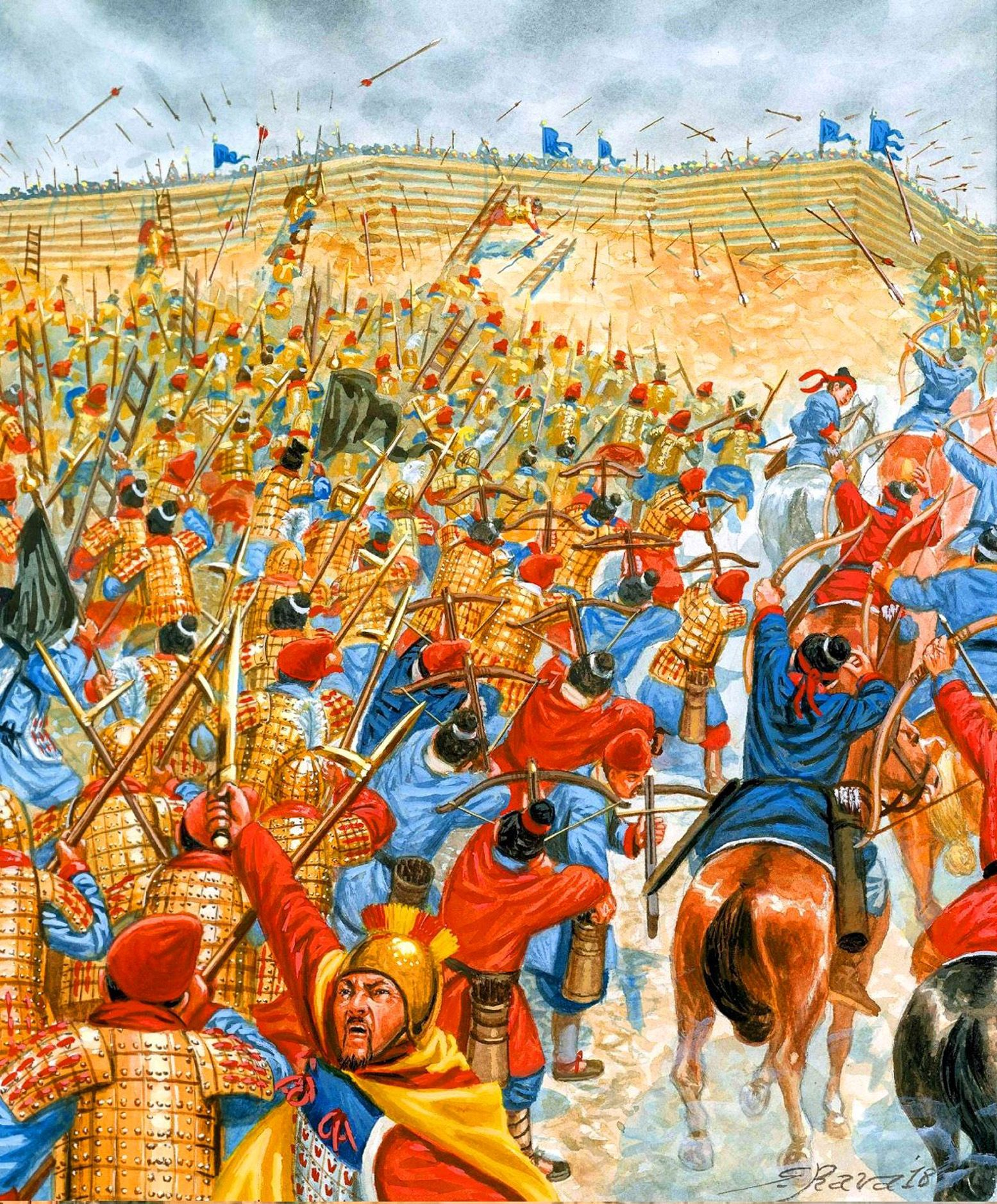 Chinese Soldiers Of The Kingdom Of Qin Attacking A Rival State Warring States Period Ancient China By Giuseppe R War Art Ancient Warfare Historical Drawings