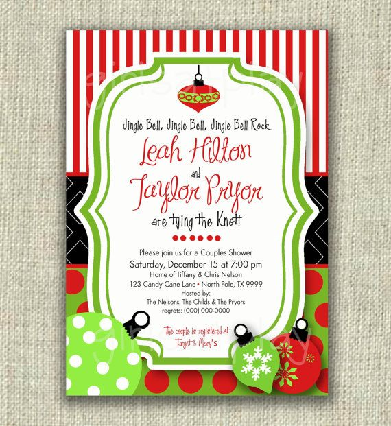 Christmas Bridal Shower Invitation Holiday Open House Retro ...