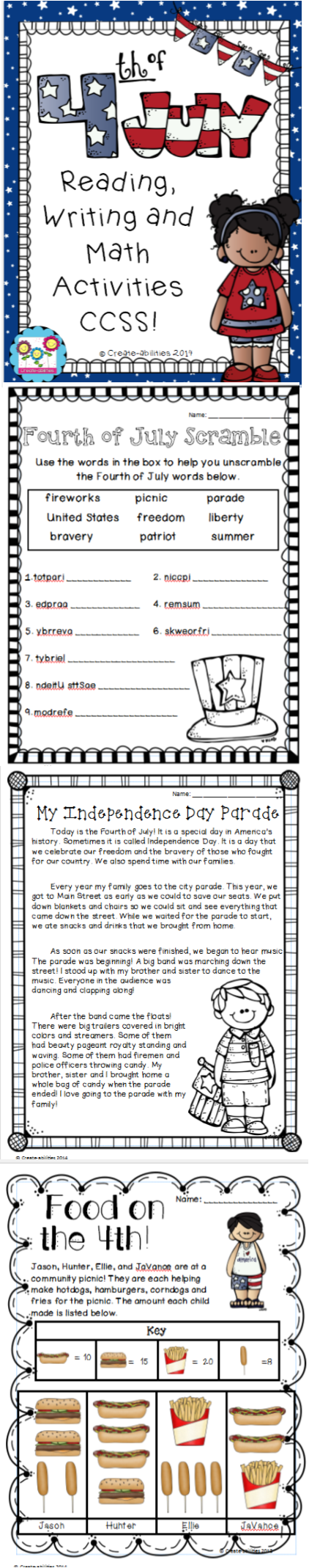Fourth Of July Activities Printable And Digital 4th Of July Fourth Of July Activity Pack [ 2137 x 422 Pixel ]