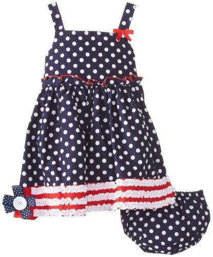 Bonnie Baby Baby-Girls Infant Dot Sundress, Navy, 12 Months (887031452585) Panty Back zipper Side ribbon trim