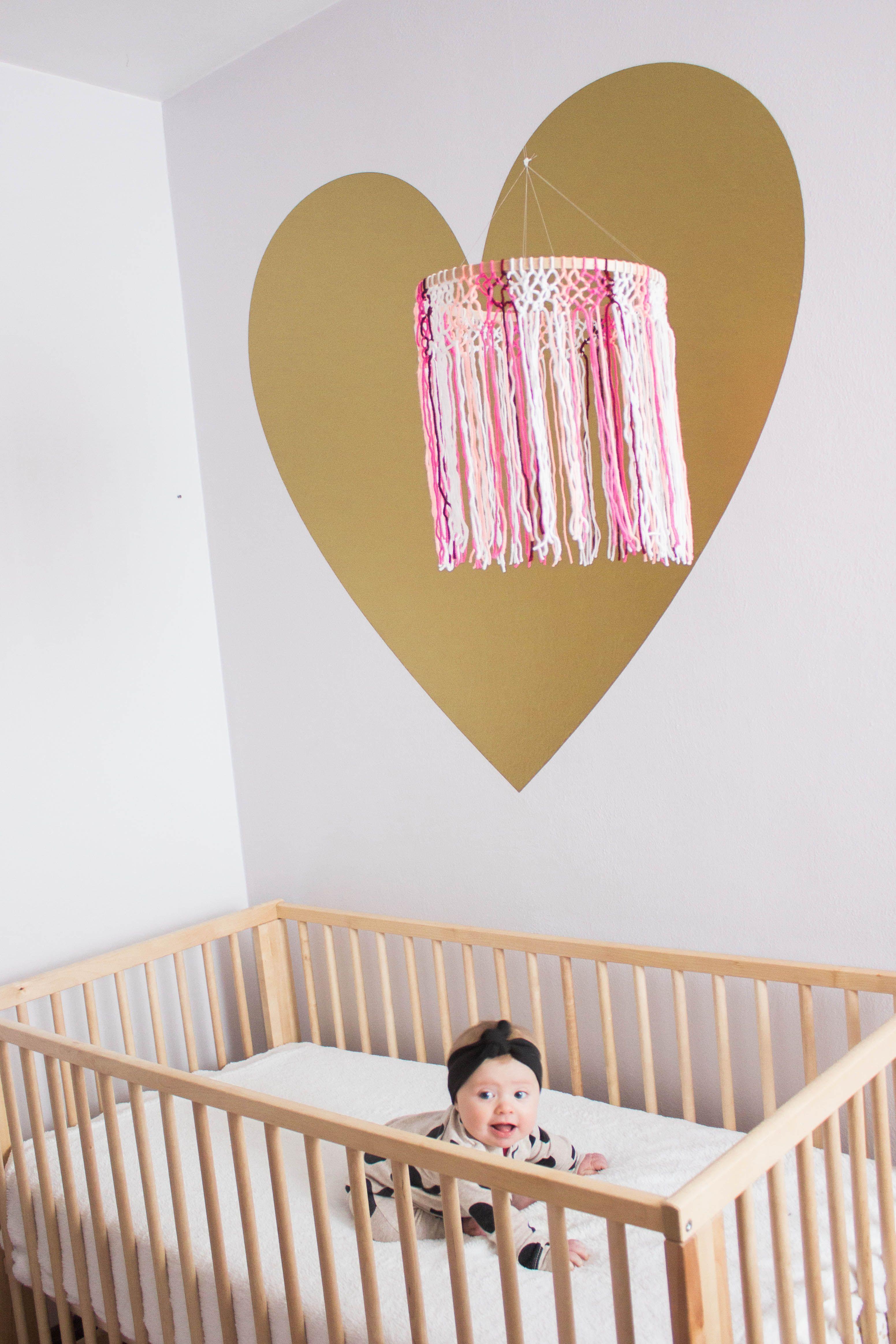 yarn macrame crib mobile diy