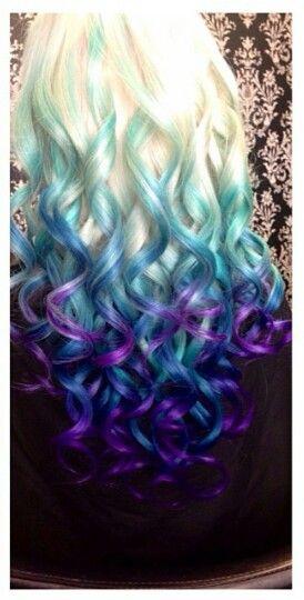 Blonde Blue Purple Ombre Dip Dyed Hair Dip Dye Hair Hair Color