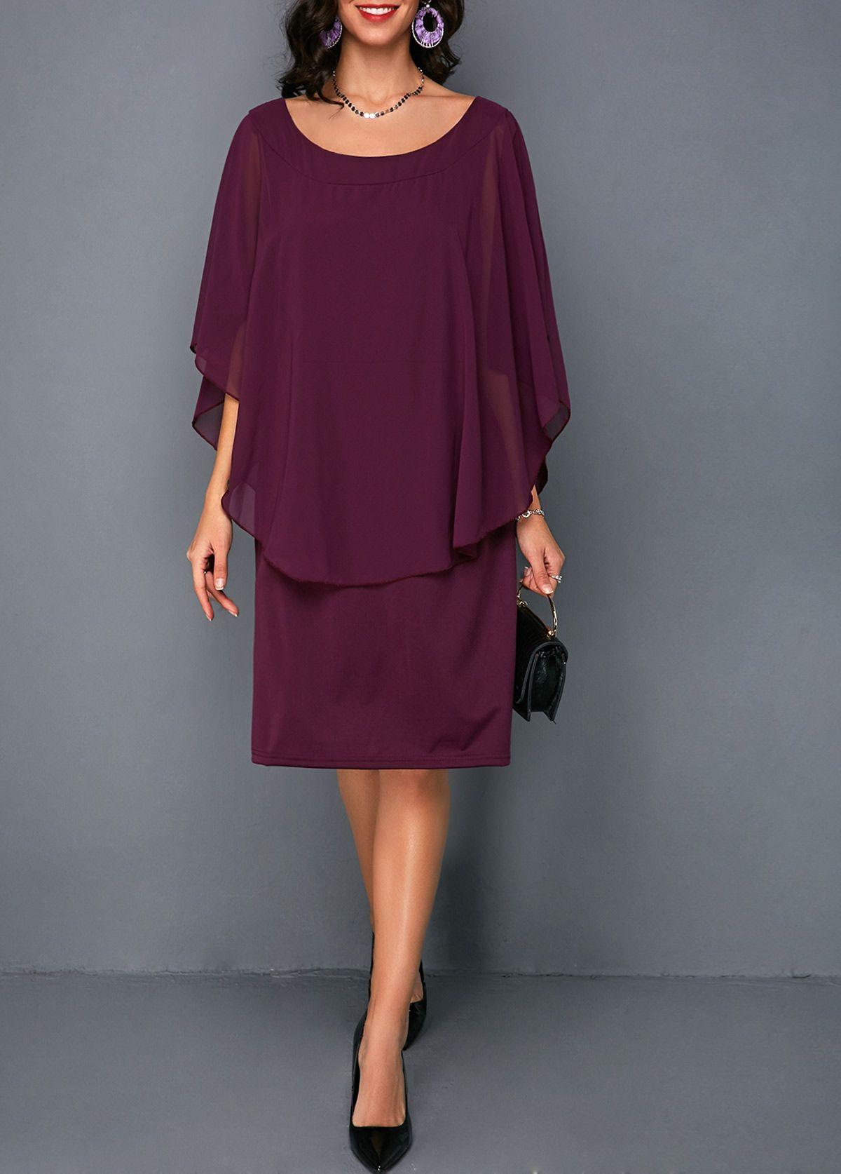 e07f4a45321 Round Neck Overlay Embellished Burgundy Chiffon Dress