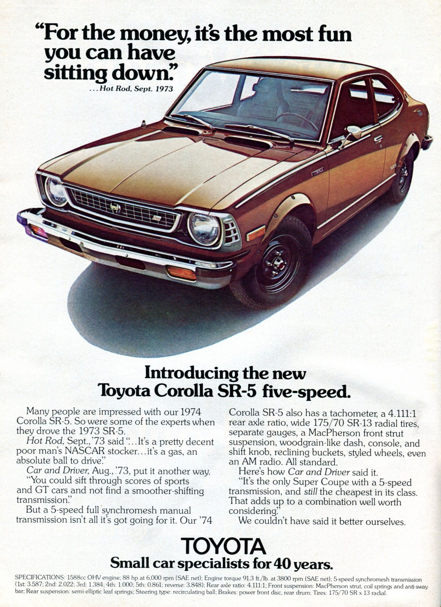 1974 Toyota Corolla SR5 Advertising Road & Track January