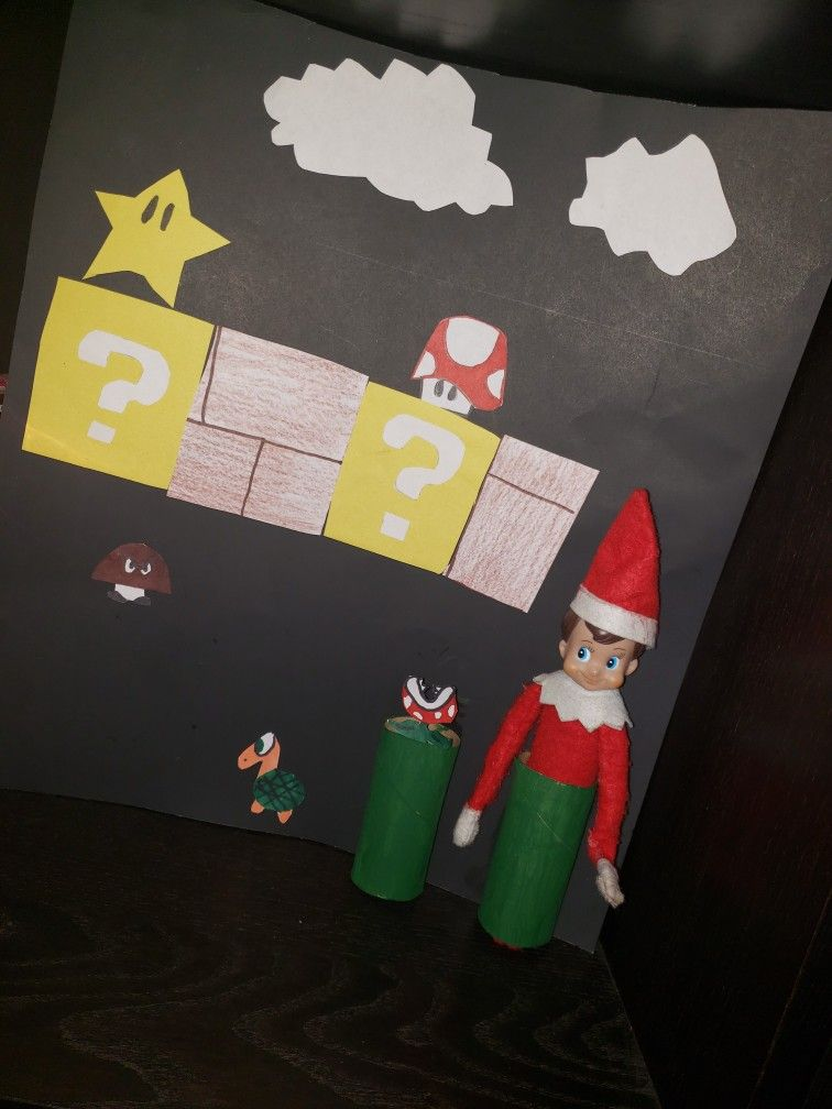 Elf Shelf Super Mario Bros Elf Antics Elf Elf On The Shelf