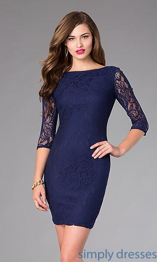9496778f095 Shop short navy cocktail dresses with long lace sleeves at SimplyDresses.  Short prom dresses with open backs for wedding receptions and holiday  parties.