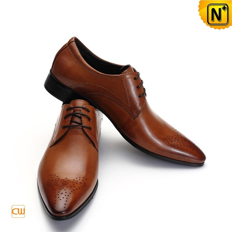 Mens Italian Leather Oxford Shoes Brown CW762112 Vintage effect ...