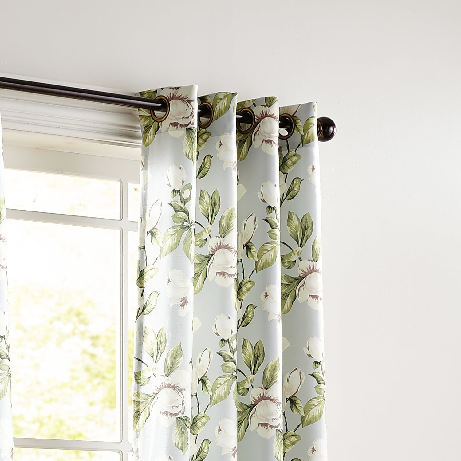 Magnolia Floral Gray 108 Curtain