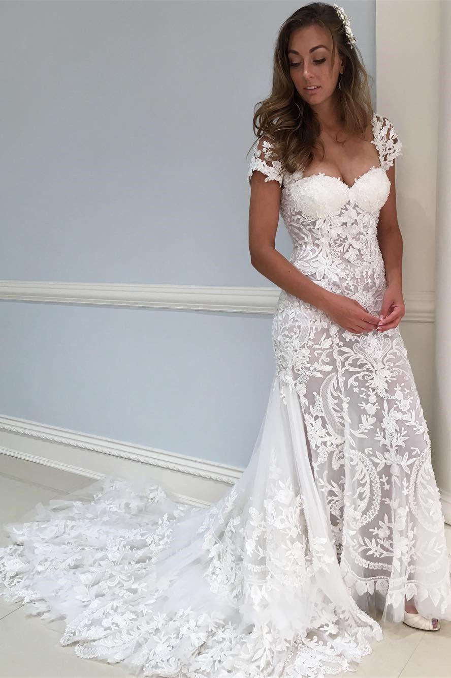Mermaid square neck cap sleeves court train wedding dress dream
