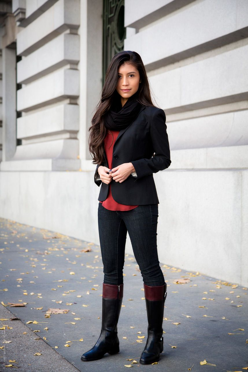 Fall Outfit Series - Casual Riding Boots Outfit | Blazers, Boots ...