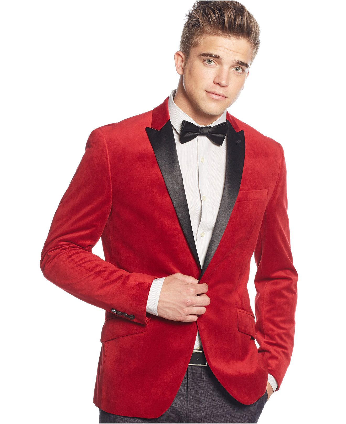 Stand out in bold style. This red velvet classic piece gets a ...