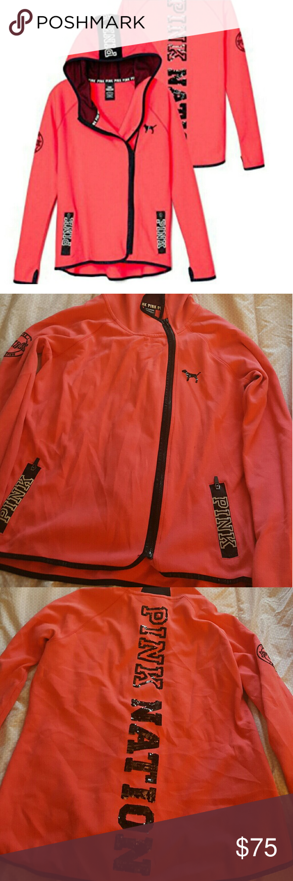 Pink- Side zipper-  Large 2015 VS Fashion show side zipper sweatshirt. EUC worn 3 times. PINK Victoria's Secret Tops Sweatshirts & Hoodies