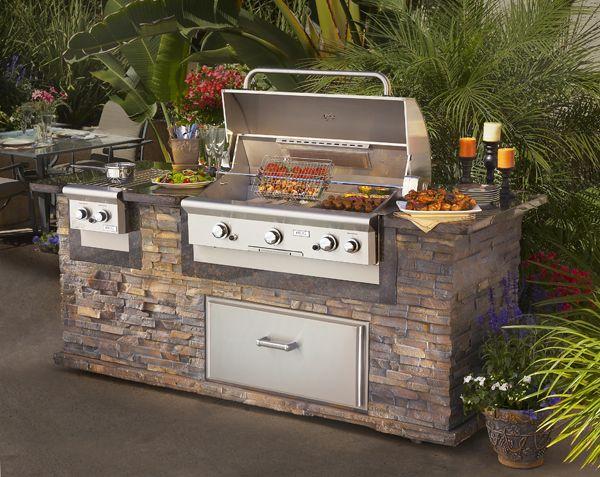 American Outdoor Grill   790 Island With Stack Stone U0026 Cocoa Granite  Counter 90W X 35.5
