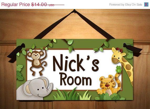 Summer SALE Jungle Safari Animals in Green Babies Bedroom Nursery Kids DOOR SIGN Wall Art