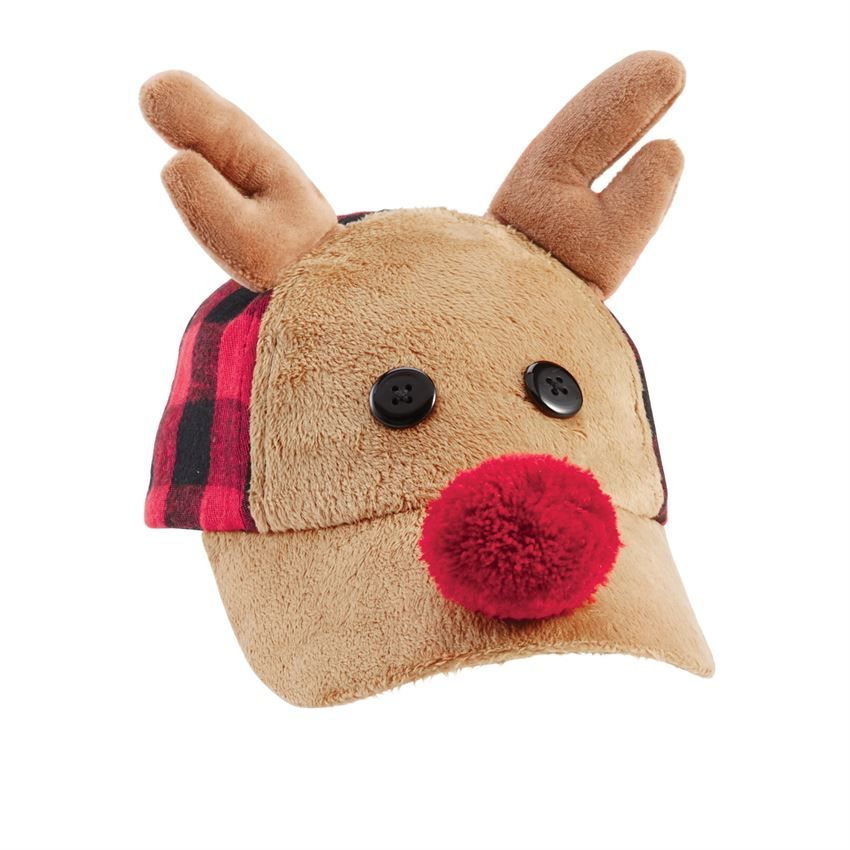c615ad674d4cb3 This holiday ready baseball-style hat features a long pile minky reindeer  bill with wood button eyes, yran pom-pom nose, and dimensional plush velour  ...