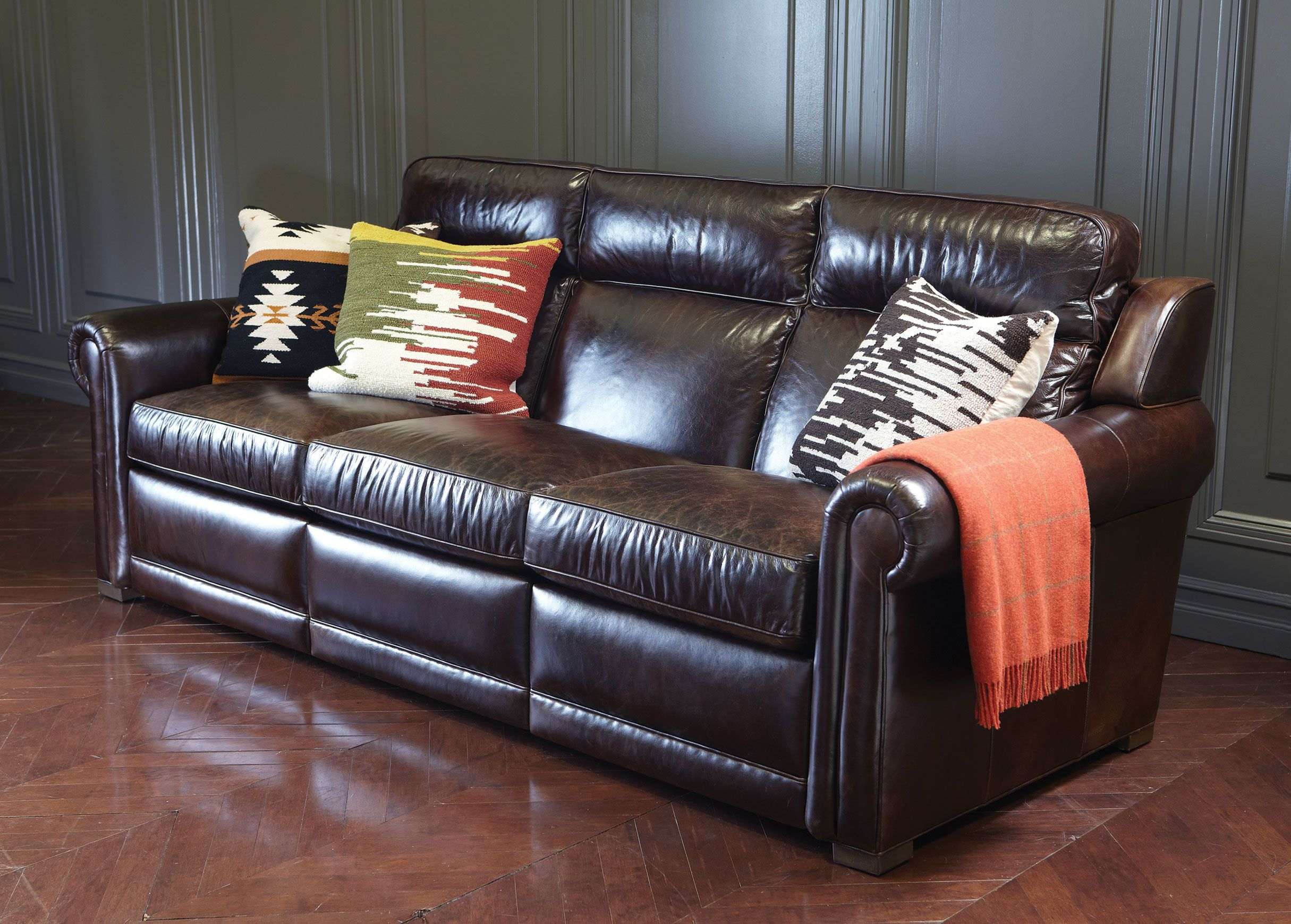 Johnston Leather Incliner Sofa Anson Espresso