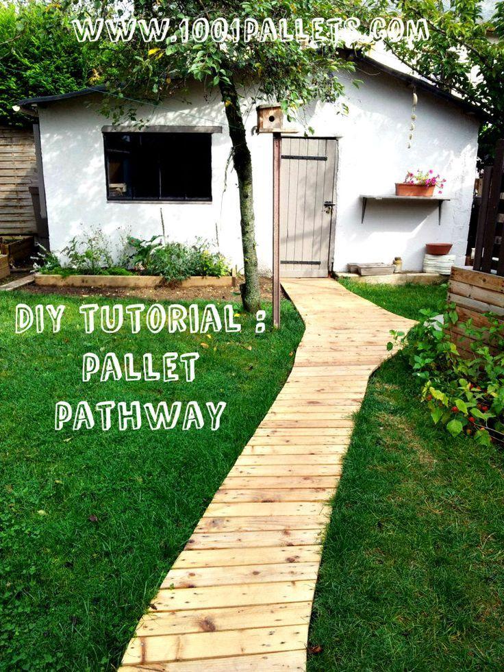 Outdoor Pathways diy tutorial: pallet pathway garden makeover : free pdf tutorial