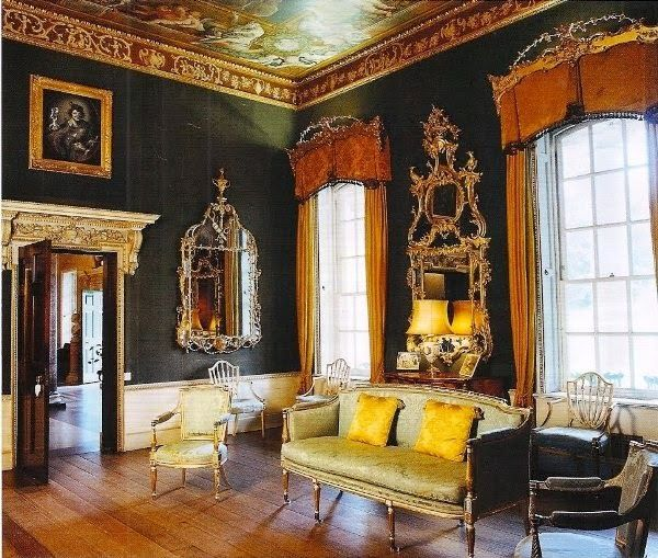 Basic elements of Georgian style in modern interior, black ...