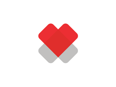 2 hearts cross medical foundation logo design symbol