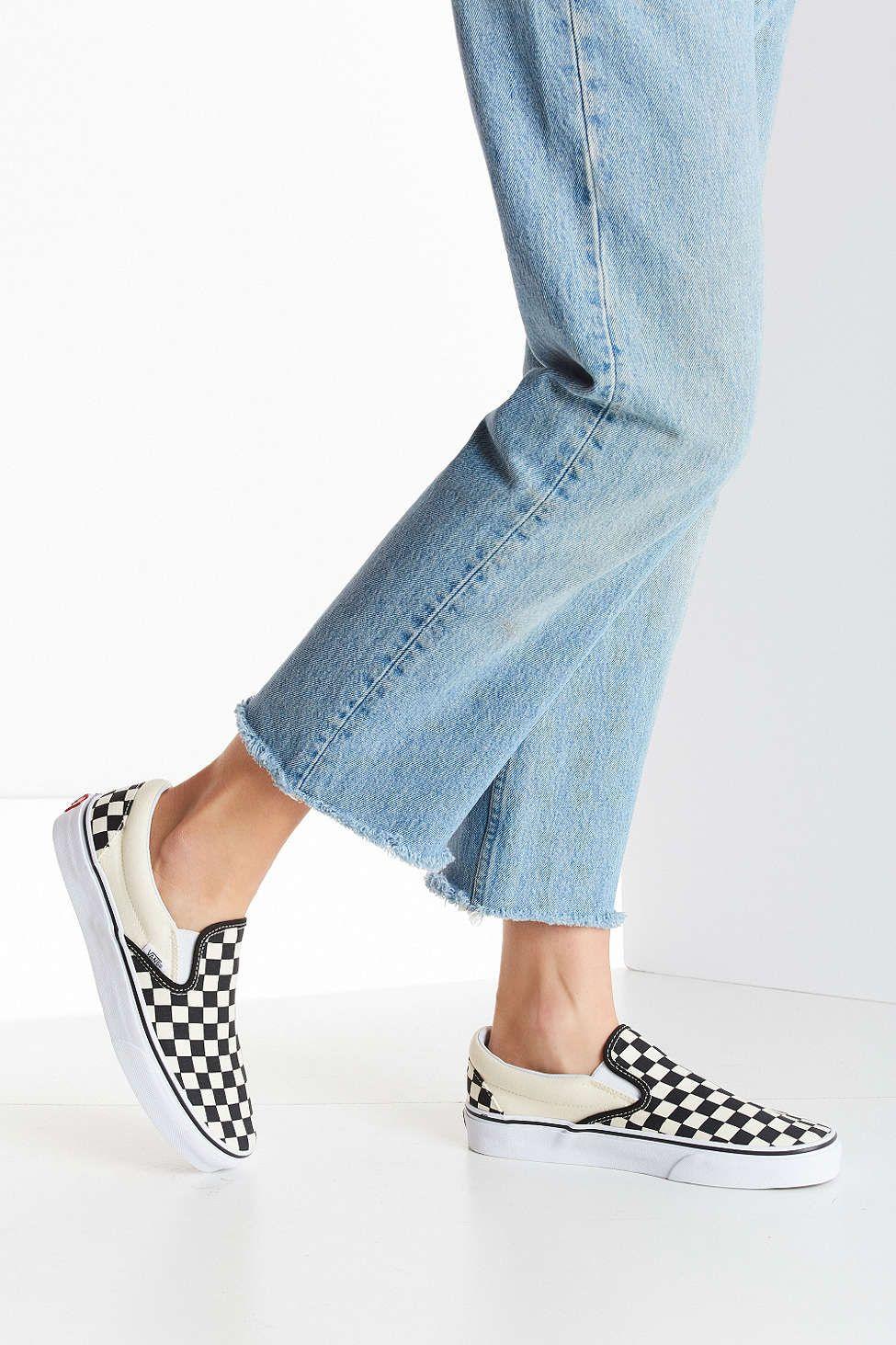 vans checkered slip ons