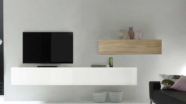 meuble tv suspendu blanc laque upton