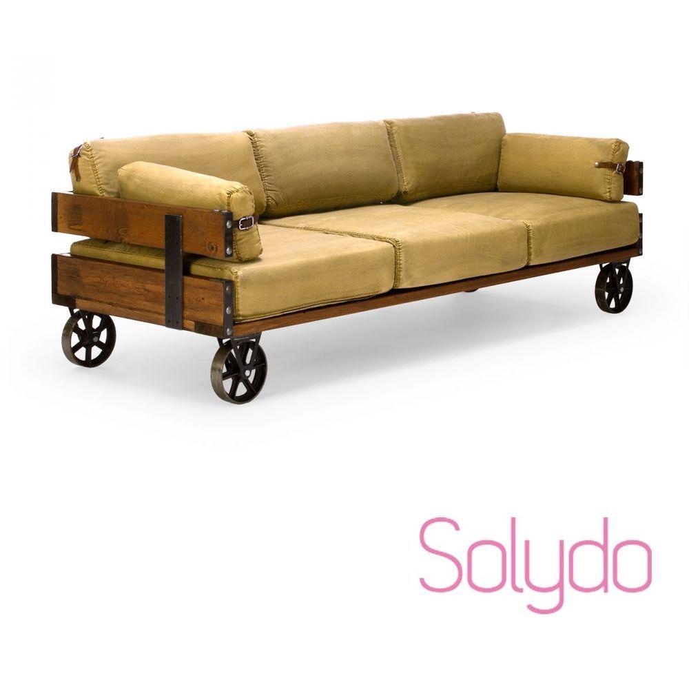Sofa 3-Sitzer Jeans khaki mit Rollen Couch Sitzmöbel industrial ...