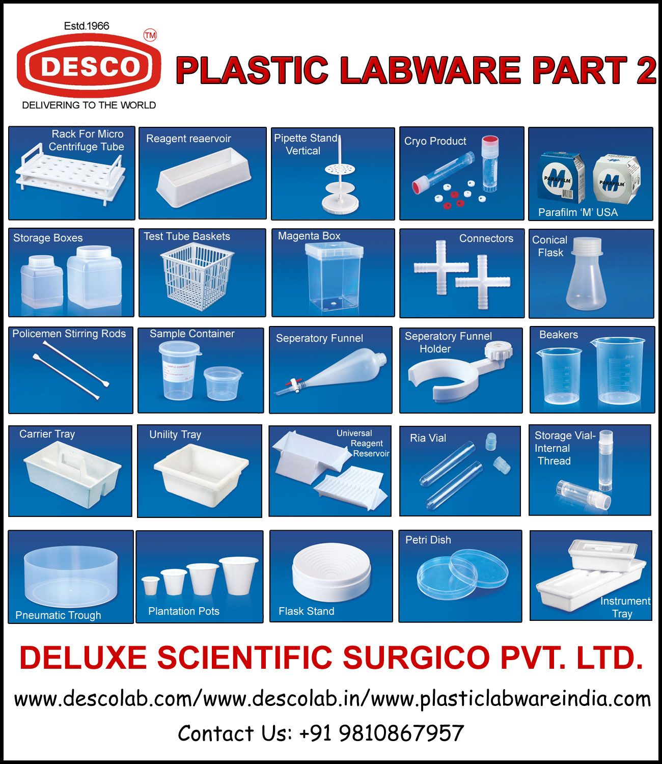 Desco A Leading Manufacturer Supplier Exporter Of India Holds A Wide Range Of Plastic Labware Products Such As Rack For M Test Tube Conical Flask Beakers