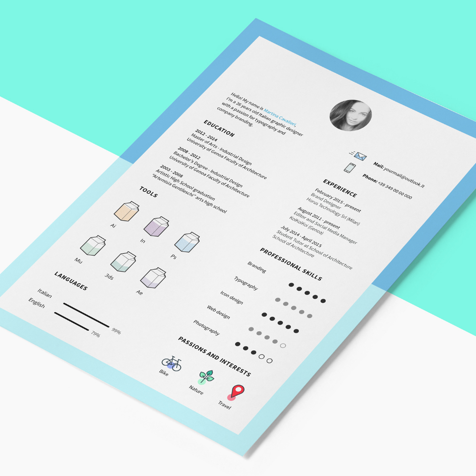 Free Resume Template With Cv Icons  Icons Template And Graphic