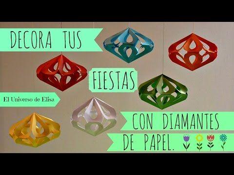 Manualidades, Cómo hacer Diamantes de Papel, Decoración Kirigami Fácil - YouTube