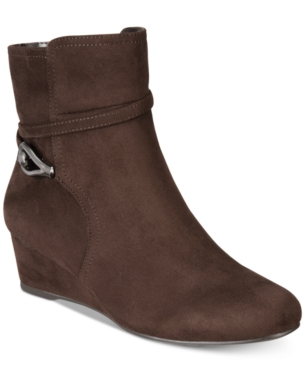 97653b597d6c Impo Glammed Wedge Zip Booties - Brown 9.5M Bootie Boots