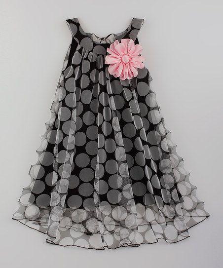 Vestido de flor negro y rosa