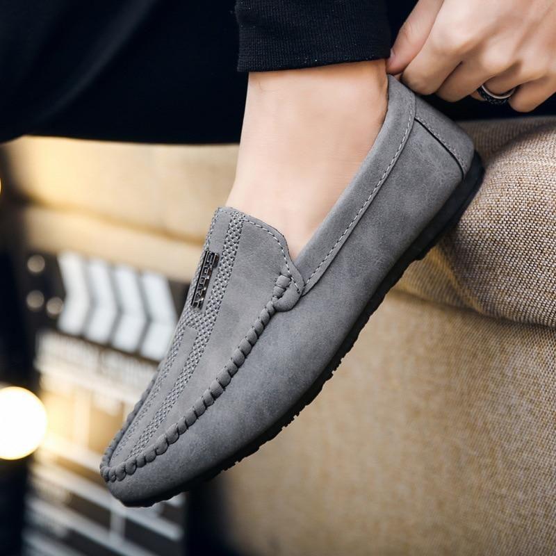 Canvas Loafers Shoes Black White Male Walking Driver Shoes Men Half Shoes
