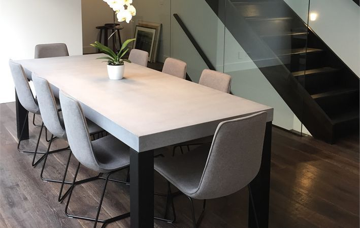 Concrete Dining Table 2400 X 1000 With Steel Powder Coated Legs