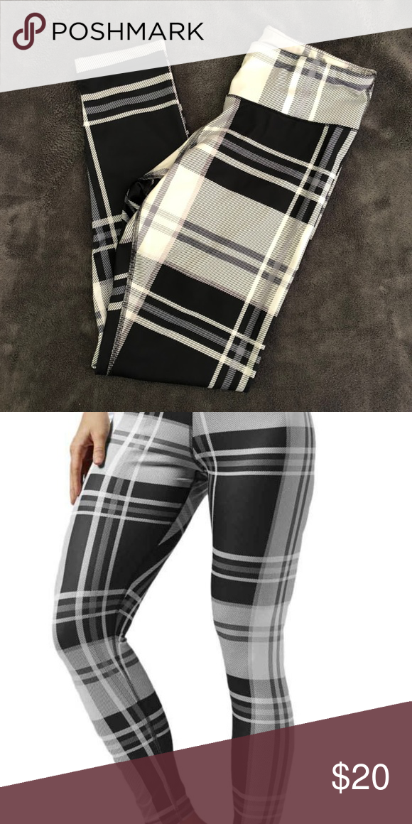 3501e7d97ef23 Reebok Yoga Plaid Leggings Only worn a few times! Black & White plaid-print  workout leggings. ❁ Message for more pictures + information.