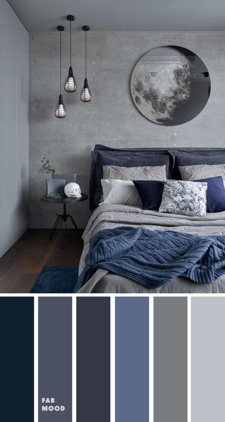Grey And Dark Blue Bedroom Color Scheme In 2020 Blue Bedroom