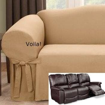 Reclining Sofa Slipcover Gold Latte Ribbed Texture Adapted For Dual Recliner Couch Canape Cuir Housses Canape