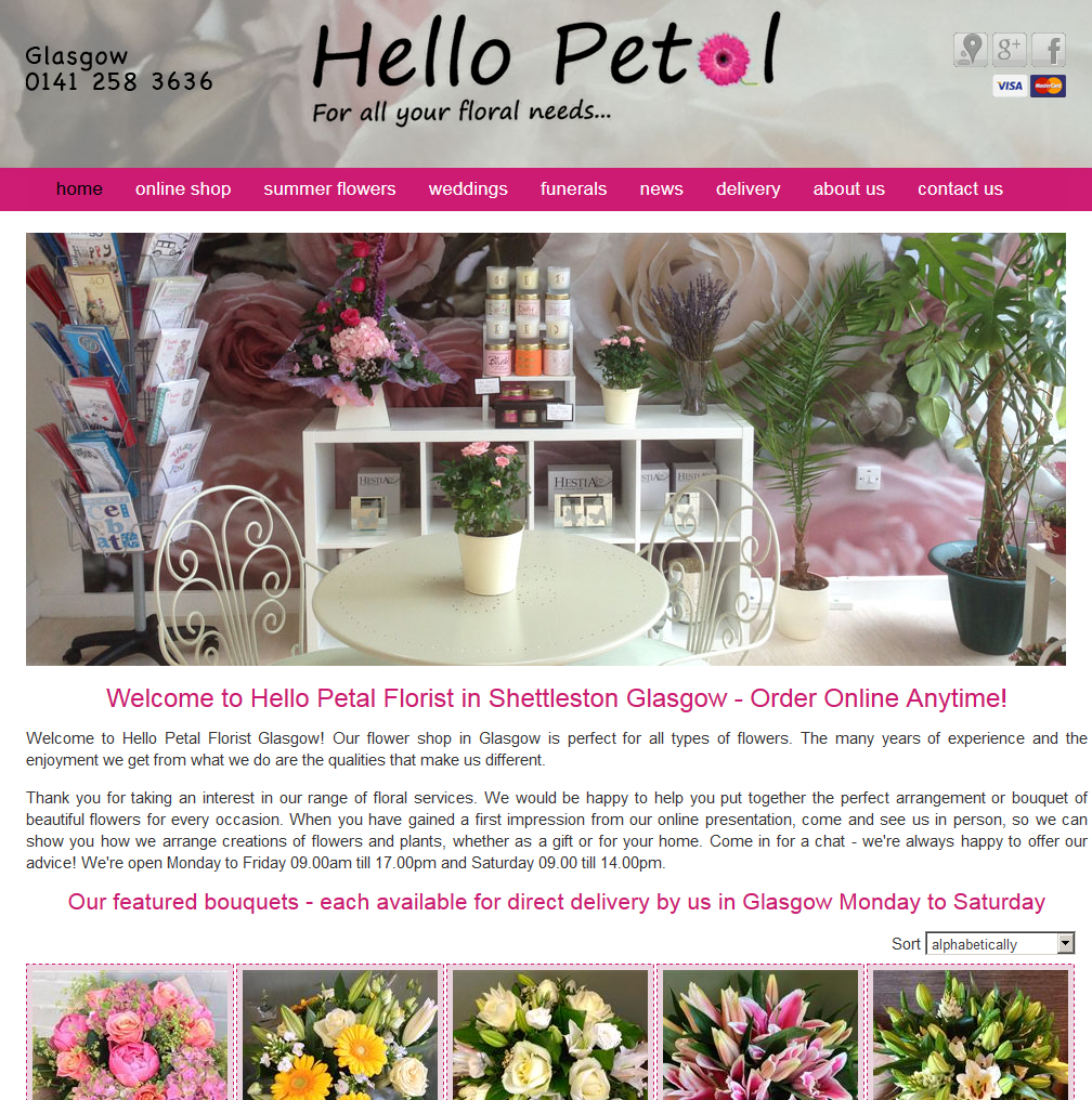 Hello Petal Florist in Glagow, this is their new website ...