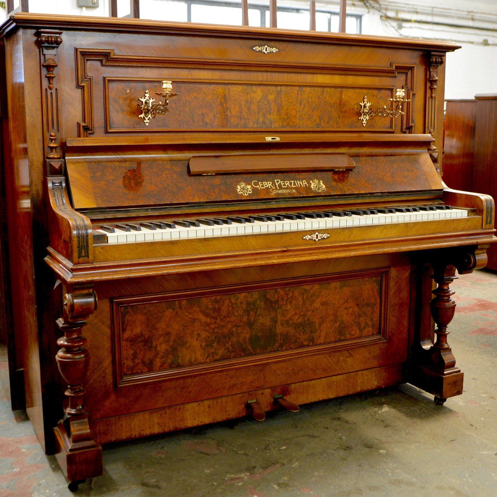 A German Made Upright Piano Upright Piano Piano Walnut Cabinets