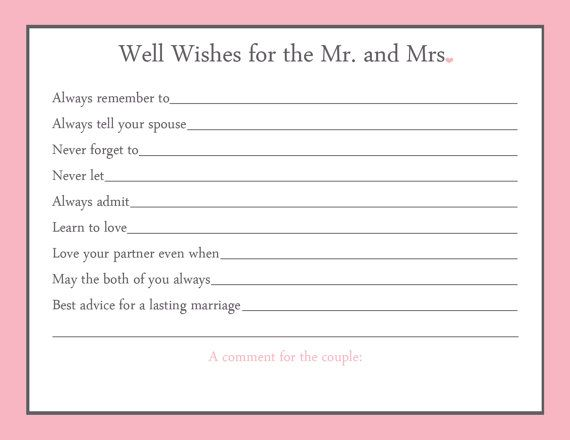 Advice Card Bridal Shower Game 20 Printed By GallyGoods On