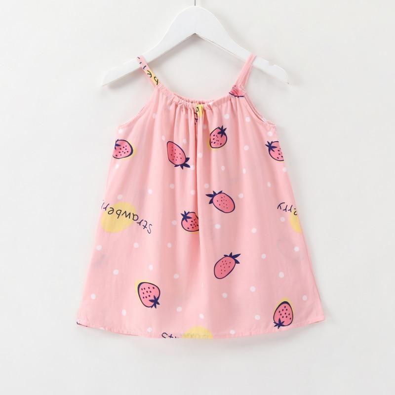 daceea118 2018 New Girls   Dress Summer Children  s Strawberry Print Vest ...