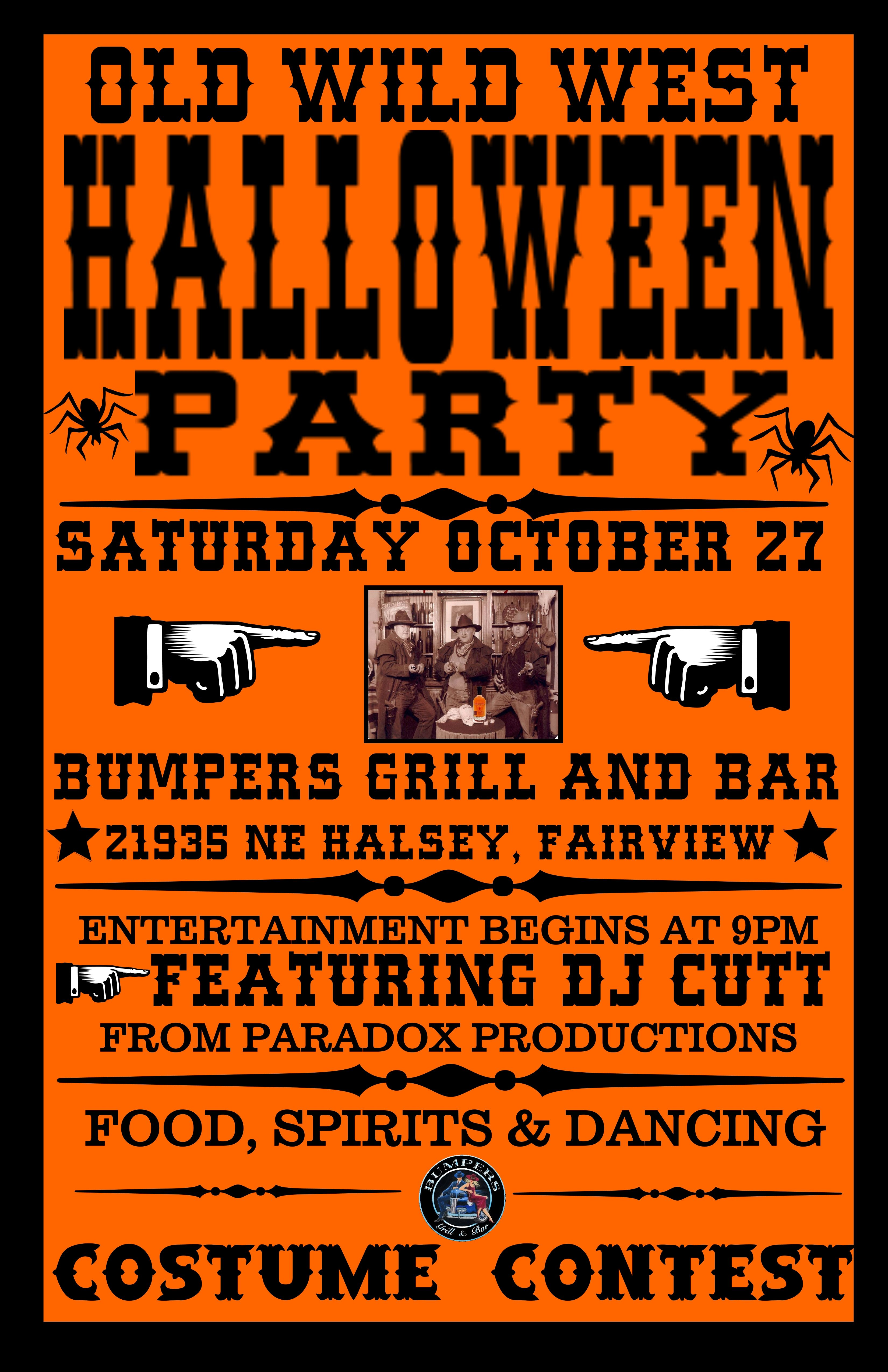 Old Wild West Halloween Party! - Bumper\'s Grill and Bar | Haunted ...